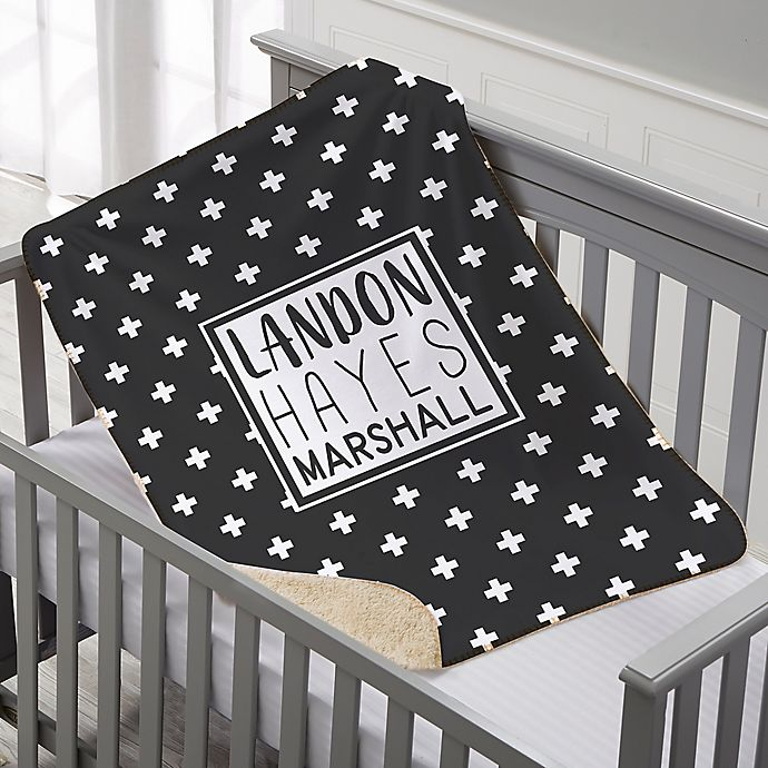 Alternate image 1 for Black & White Personalized Premium Sherpa Baby Blanket