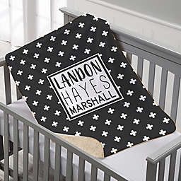 Black & White Personalized Premium Sherpa Baby Blanket