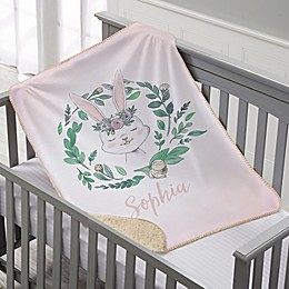 Woodland Floral Bunny Personalized Sherpa Baby Blanket