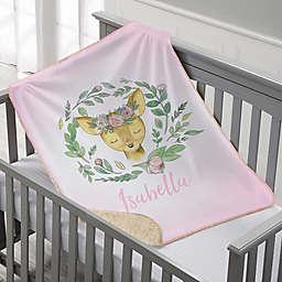 Woodland Floral Deer Personalized Sherpa Baby Blanket