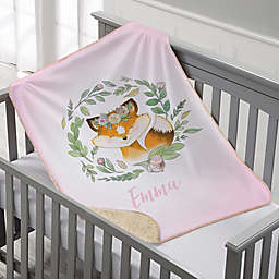 Woodland Floral Fox Personalized Sherpa Baby Blanket
