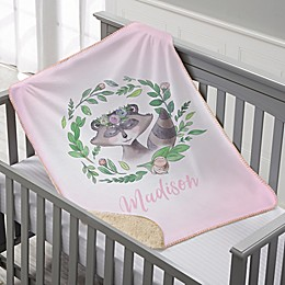 Woodland Floral Raccoon Personalized Sherpa Baby Blanket