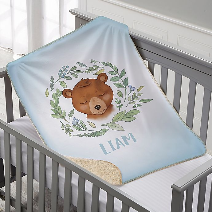 Alternate image 1 for Woodland Bear Personalized Sherpa Baby Blanket