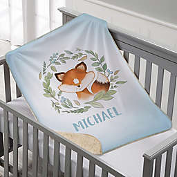 Woodland Fox Personalized Sherpa Baby Blanket