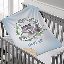 Woodland Raccoon Personalized Sherpa Baby Blanket