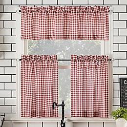 No.918™ Parkham Farmhouse Plaid 3-Piece Kitchen Curtain Valance and Tier Set