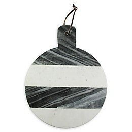 American Atelier 15-Inch White and Grey Marble Cheese Board
