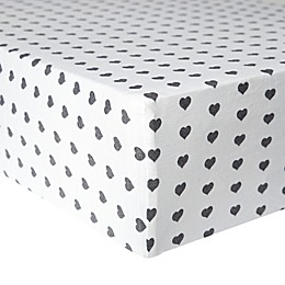 Copper Pearl Premium™ Smitten Fitted Crib Sheet in White/Black