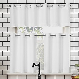 No.918® Dylan Casual Textured 3-piece Kitchen Curtain Valance and Tier Set