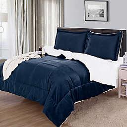 Luxury Solid Down Alternative Sherpa Reversible Comforter Set