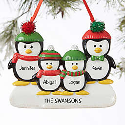 Penguin Family 4-Name Personalized Ornament