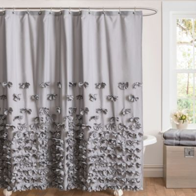 Juliet Bow Shower Curtains In Grey Bed Bath Amp Beyond