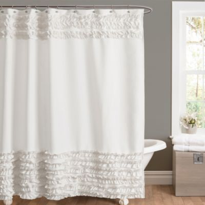 Amelie Ruffle Shower Curtains In White