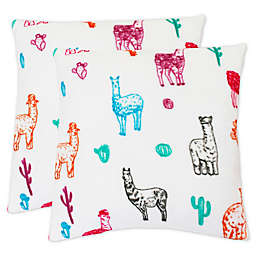 Larry Llama Square Throw Pillows in Bright White (Set of 2)