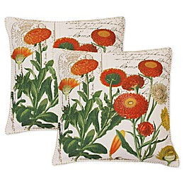 Lorilie Julianna Square Throw Pillows in Orange (Set of 2)