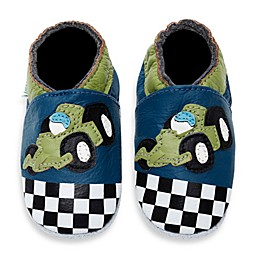 MomoBaby Soft Sole Leather Sneakers in Race Car Navy