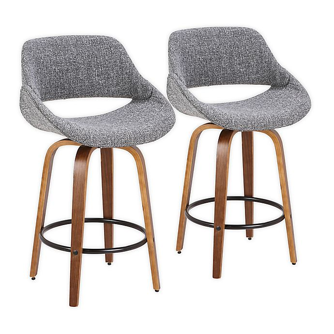 Alternate image 1 for LumiSource® Fabrico Counter Stools in Walnut/Grey/Black