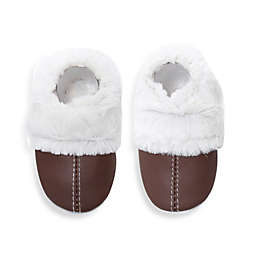 MomoBaby Soft Sole Leather Sneakers in Brown/White Fuzzy