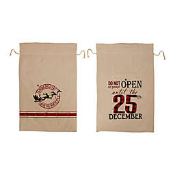 Lighted Burlap Holiday Gift Sacks with Wording (Set of 2)