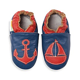 MomoBaby Soft Sole Leather Sneakers in Nautical Navy