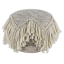 Décor Therapy Felicity 14-Inch Round Fringed Pouf