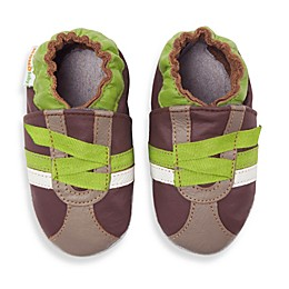 MomoBaby Z-Strap Soft Sole Leather Shoes in Brown
