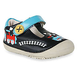 MomoBaby Toddler Train Leather T-Strap Shoes in Black