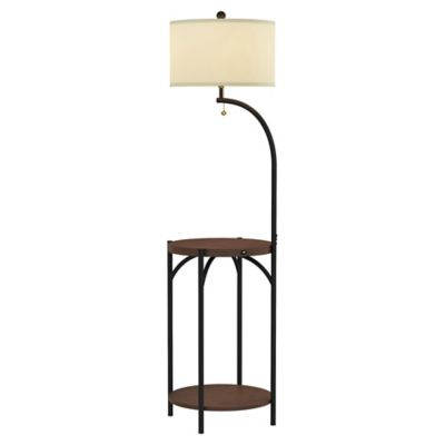 Lavish Home Rustic Floor Lamp Table in Brown/Black