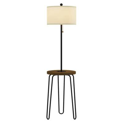 Lavish Home Hairpin Floor Lamp Table in Black