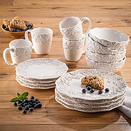 American Atelier Bianca Holly 16-Piece Dinnerware Set in White