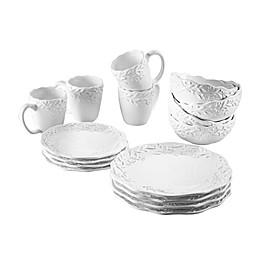 American Atelier Bianca Holly 16-Piece Dinnerware Set in White