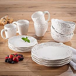 American Atelier Bianca Mistletoe 16-Piece Dinnerware Set in White