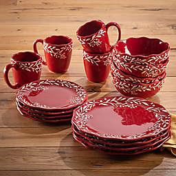 American Atelier Bianca Mistletoe 16-Piece Dinnerware Set in Red/White