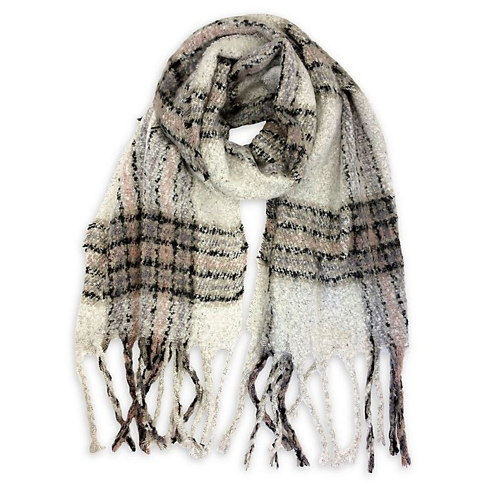 White Checker Plaid Pattern Infinity Loop Scarf with Fringe Trim
