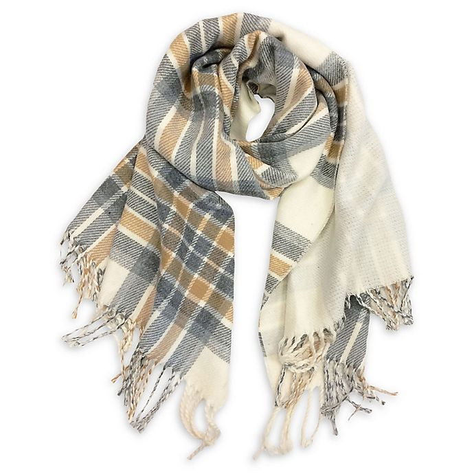 Alternate image 1 for Isaac Mizrahi Women's Reversible Fringed Plaid Scarf