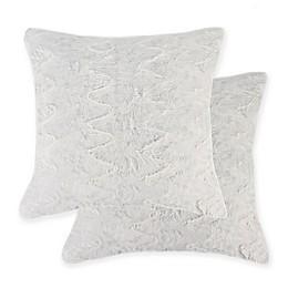 Belton Owl Faux Fur Square Throw Pillows in White (Set of 2)
