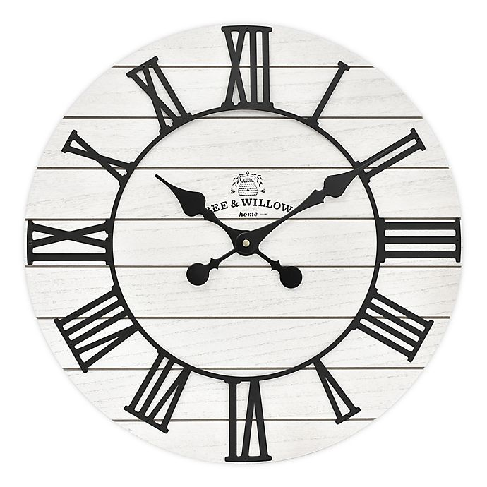 Alternate image 1 for Bee & Willow™ Home Rustic Wood 18-Inch Wall Clock in White