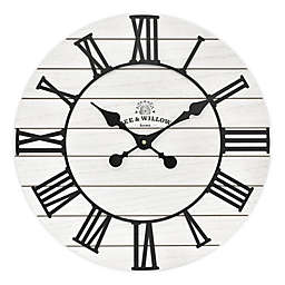 Bee & Willow™ Home Rustic Wood 18-Inch Wall Clock in White