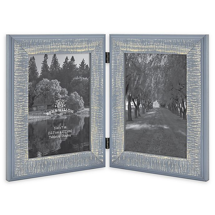 Alternate image 1 for Bee & Willow™ Home 2-Photo 5-Inch x 7-Inch Hinged Picture Frame in Blue