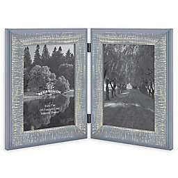 Bee & Willow™ Home 2-Photo 5-Inch x 7-Inch Hinged Picture Frame in Blue