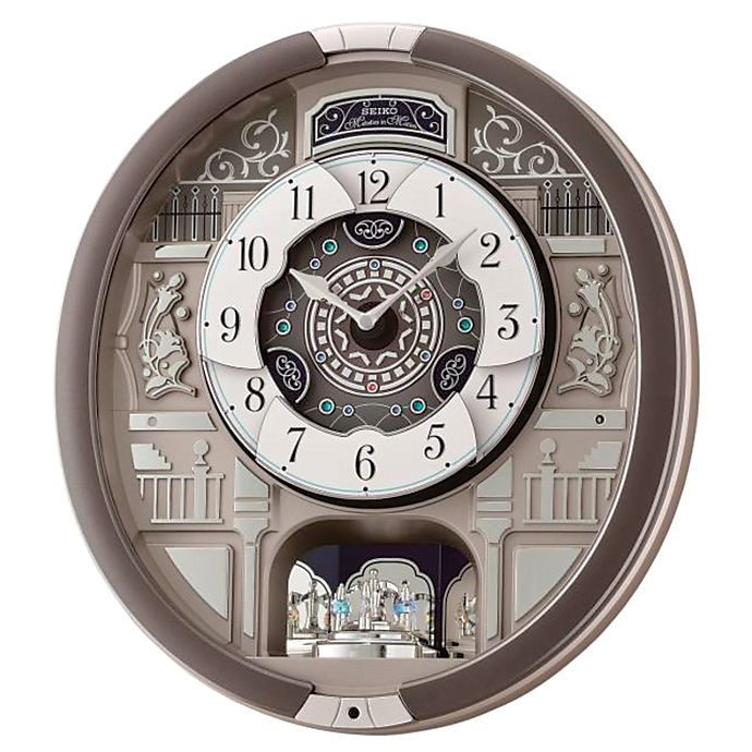Seiko Musical Wall Clock With Rotating Pendulum In Silver