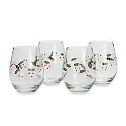 Pfaltzgraff® Winterberry Stemless Wine Glasses (Set of 4)