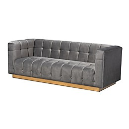 Baxton Studio Virgil Velvet Channel Tufted Sofa