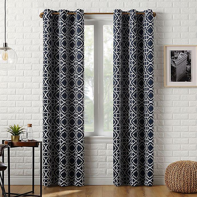 Alternate image 1 for Sun Zero® Barnett Trellis 84-Inch Grommet Window Curtain Panel in Navy