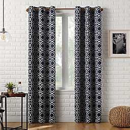 Sun Zero™ Barnett Trellis 84-Inch Grommet Room Darkening Window Curtain Panel in Navy