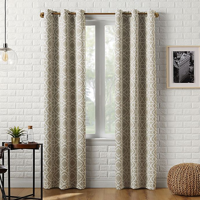 Alternate image 1 for Sun Zero® Barnett Trellis 95-Inch Grommet Window Curtain Panel in Taupe