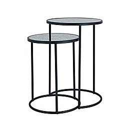 Holly & Martin® Alcovy 2-Piece Round Smoked Glass Nesting Tables in Black