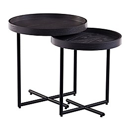 Southern Enterprises Shandon 2-Piece Round Nesting Accent Table Set in Washed Gray