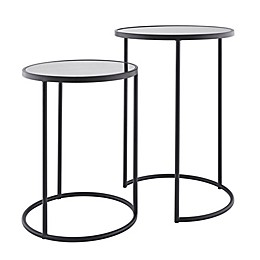 Holly & Martin® Alcovy 2-Piece Round Mirror-Top Nesting Table Set in Black