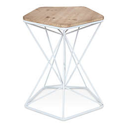 Kate and Laurel Ulane Accent Table in White/Natural